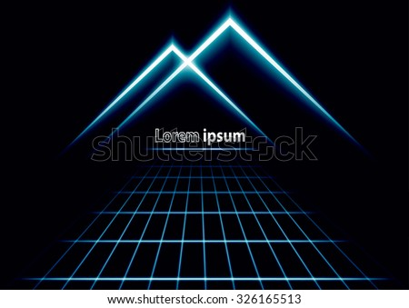 Blue glitter abstract futuristic perspective background with simple mountain logo. Vector illustration - stock vector
