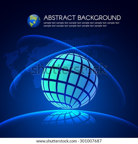 Blue Global light and map on dark blue vector background  - stock vector