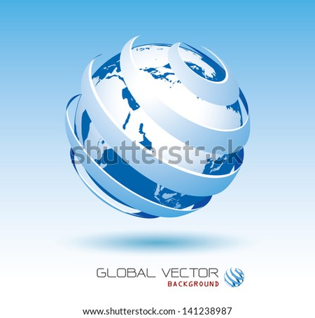blue global vector background - stock vector