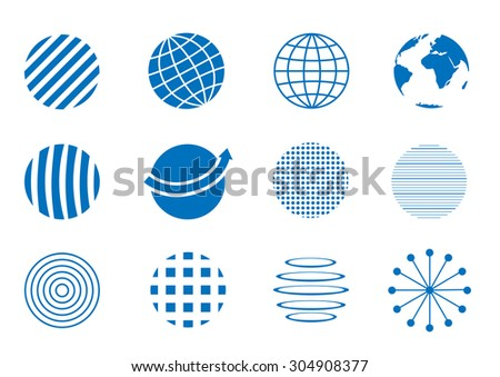 Blue Globe icon set, earth symbols. Communication concept - stock vector