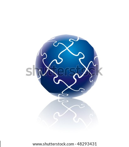 Blue globe puzzle - stock vector