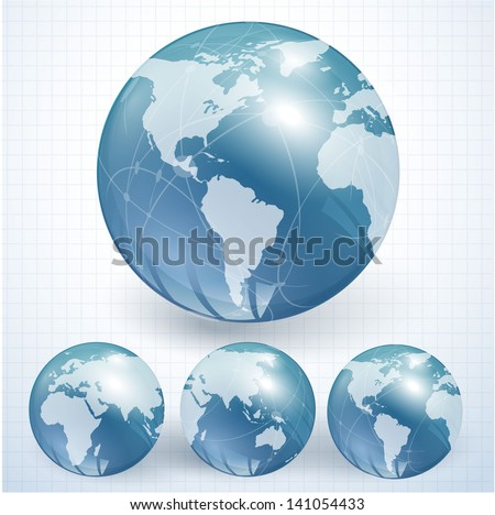 Blue globes. Vector. - stock vector