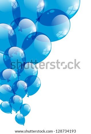 Blue glossy balloon on white - stock vector