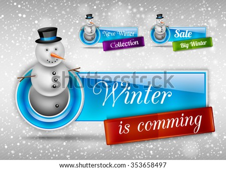 Blue glossy button with cute snowman. Winter vector design elements. - stock vector