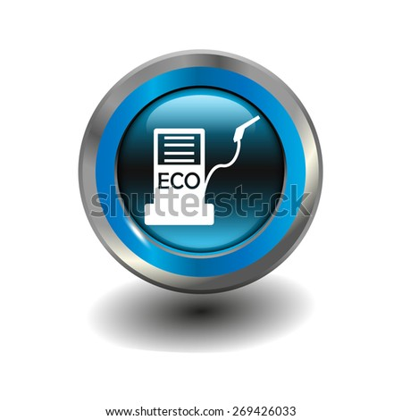 Blue glossy button with metallic elements and white icon biofuels, vector design for website - stock vector