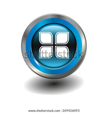 Blue glossy button with metallic elements and white icon blogs, vector design for website - stock vector