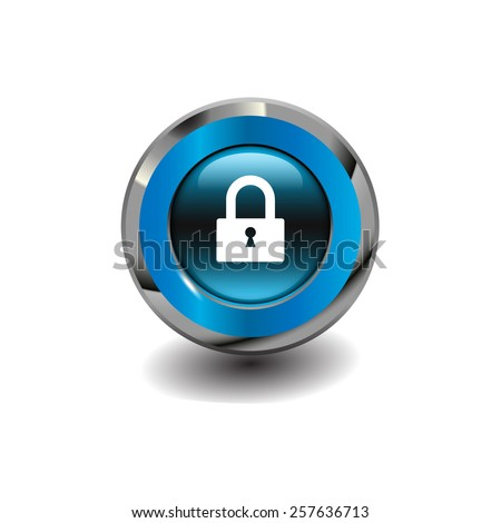Blue glossy button with metallic elements and white icon padlock, vector design for website - stock vector