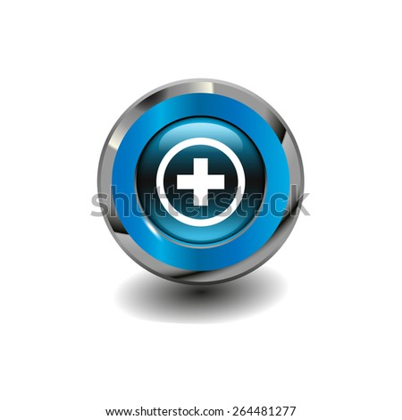 Blue glossy button with metallic elements and white icon plus, vector design for website - stock vector