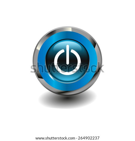 Blue glossy button with metallic elements and white icon power on/off, vector design for website - stock vector
