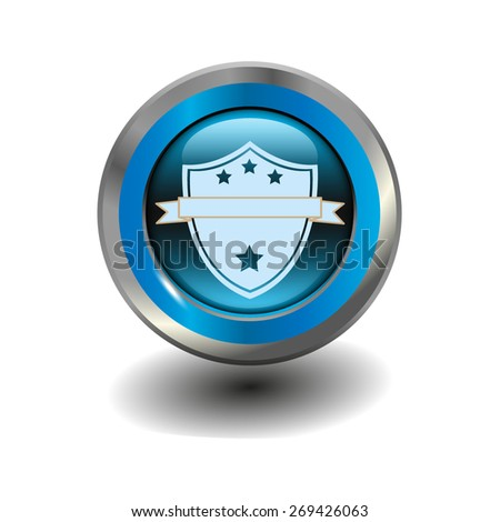 Blue glossy button with metallic elements and white icon shield, vector design for website - stock vector
