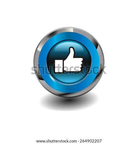 Blue glossy button with metallic elements and white icon thumbs up (like), vector design for website  - stock vector