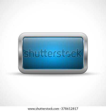 Blue glossy button with metallic elements. Template for icons - stock vector