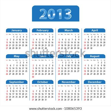 Blue glossy calendar for 2013. Sundays first. Vector illustration - stock vector