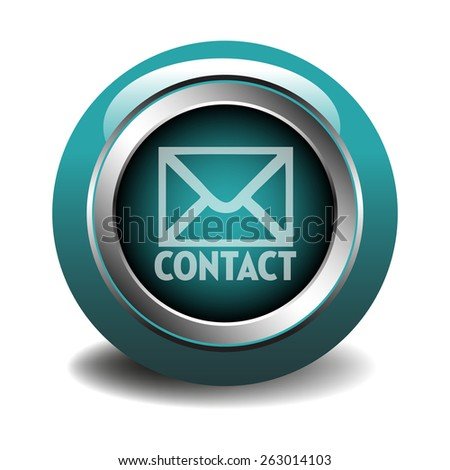 Blue glossy contact button isolated on a white background - stock vector