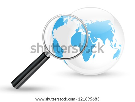 Blue glossy Earth with magnifier - stock vector