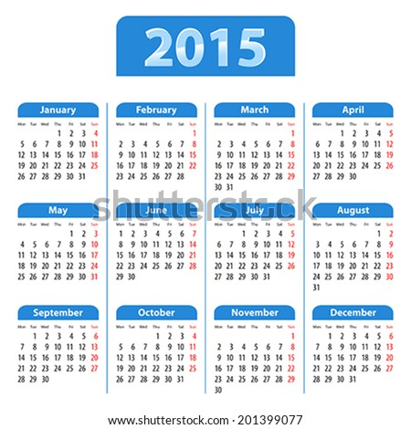Blue glossy English calendar for 2015. Mondays first. Vector illustration - stock vector