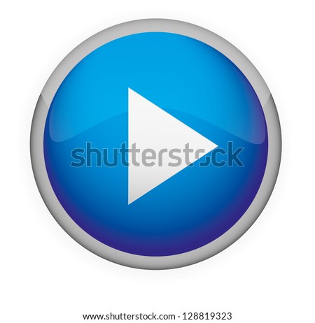 Blue Glossy Media Button,Play. Vector - stock vector