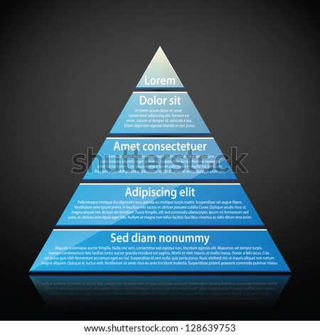 Blue glossy pyramid with text on each level. Useful for infographics, presentations or advertising. - stock vector