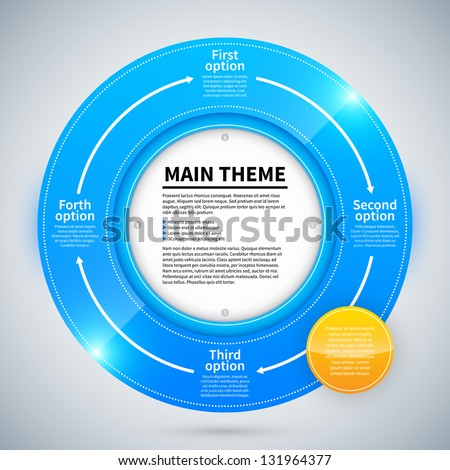 Blue glossy ring with 4 different options. Arrows from one to the other shows the relationship of ideas. - stock vector