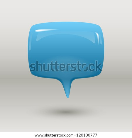 Blue glossy speech bubble, eps10 vector - stock vector