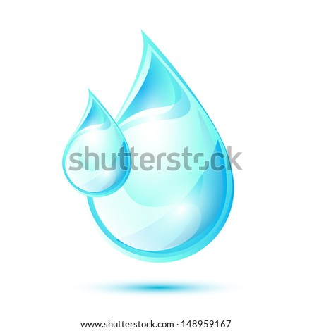 Blue glossy water drops, EPS 10, isolated - stock vector