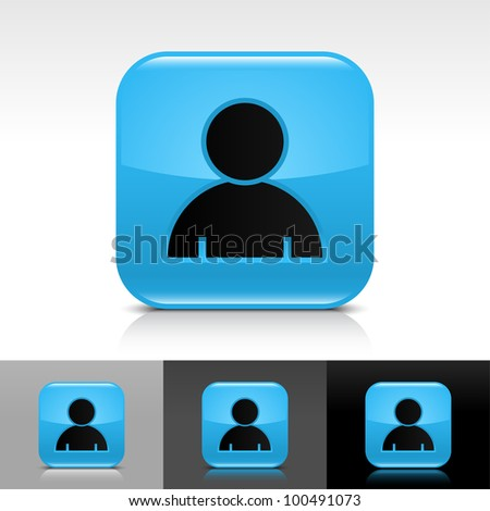 Blue glossy web button with black user profile sign. Rounded square shape icon with shadow, reflection on white, gray, black background. Vector 8 eps. - stock vector