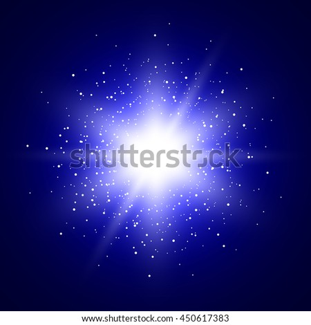 Blue glowing background. Star. Sparkles. Light rays. Flare. Vector illustration. - stock vector