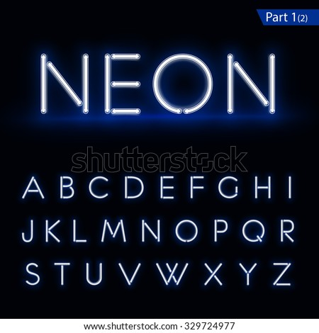 Blue glowing font from a Neon tube. Vector format part 1 - stock vector