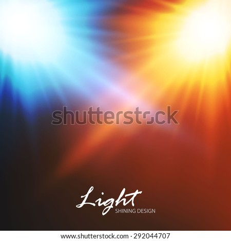Blue & gold light. Abstract flash background.  Vector illustration - stock vector