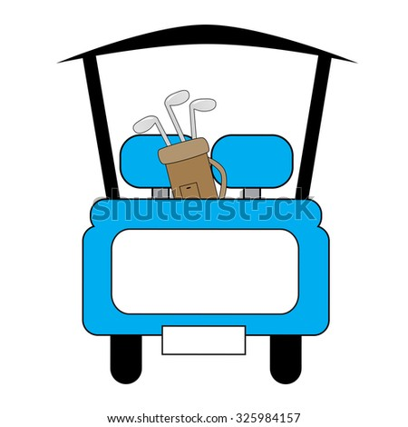 Blue Golf Cart - stock vector