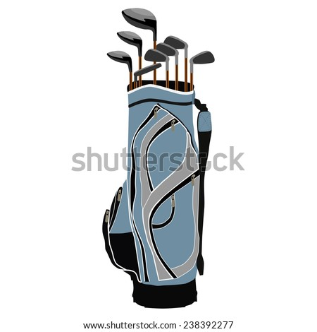 Blue golf clubs bag, sport equipment, isolated on white - stock vector