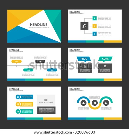 Blue Green and yellow Infographic elements presentation template background and pattern flat design set for brochure flyer leaflet - stock vector