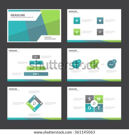 Blue green Purple presentation template Infographic elements flat design set for brochure flyer leaflet marketing advertising - stock vector