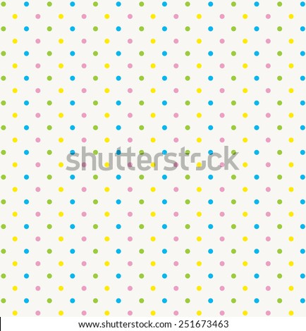 blue green yellow pink polka dot seamless white background - stock vector
