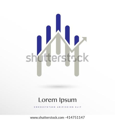BLUE - GREY ANALYTICS / STATISTICS VECTOR LOGO / ICON - stock vector