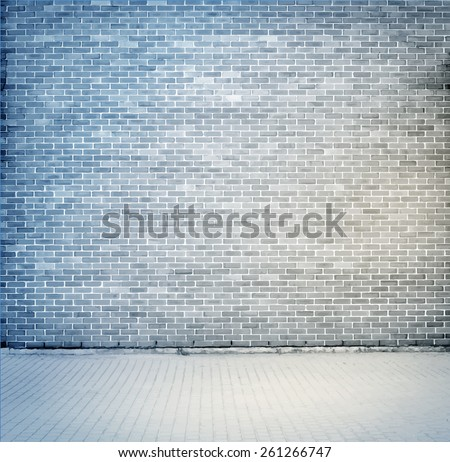 Blue, grey brick wall texture with sidewalk. Vector illustration - stock vector