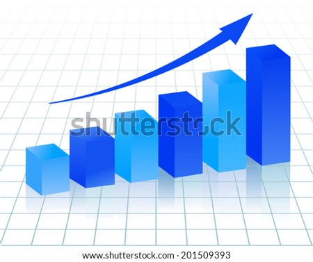 blue growing  diagram - stock vector