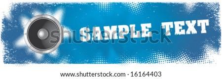 Blue grunge banner with speaker. Vector element for design. - stock vector