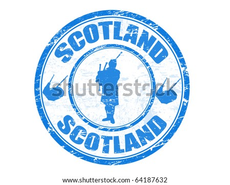 Blue grunge rubber stamp with man silhouette playing the bagpipes and the name of Scotland written inside - stock vector