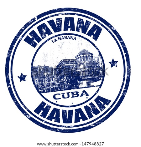 Blue grunge rubber stamp with the name of Havana the capital of Cuba written inside, vector illustration - stock vector