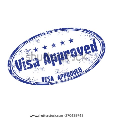 Blue grunge rubber stamp with the text visa approved written on the stamp - stock vector