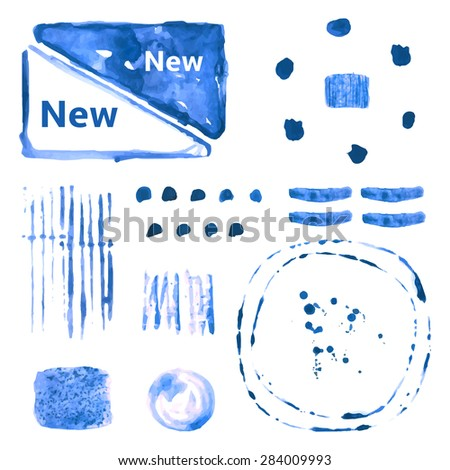 Blue grunge style watercolor spots for text and design, cyan, indigo color spots in different shapes and textures - stock vector
