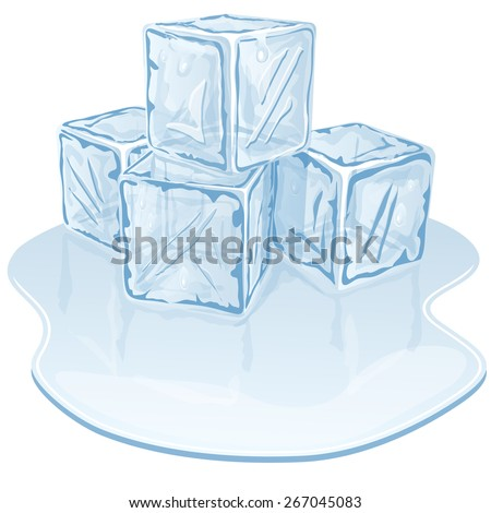 Blue half-melted ice cube pile. Vector illustration  - stock vector