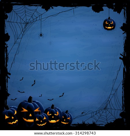 Blue Halloween background with pumpkins and spiders, illustration. - stock vector