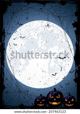 Blue Halloween night background with Moon, spiders and Jack O' Lanterns, illustration. - stock vector