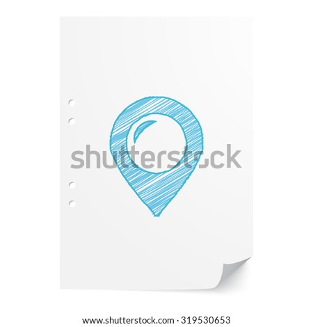 Blue hand drawn Place illustration on white paper sheet with copy space - stock vector