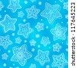 Blue hand-drawn stars-snowflakes seamless pattern - stock vector
