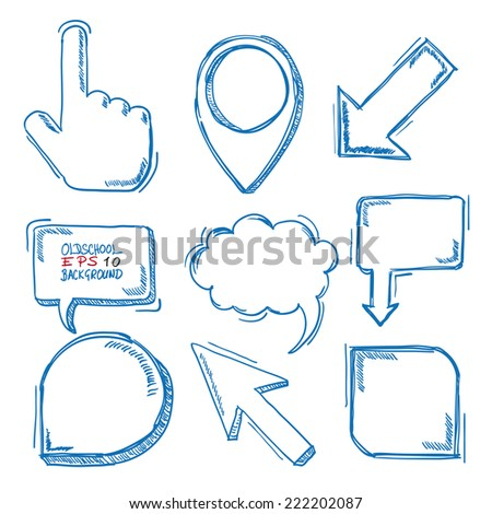 Blue handdrawn markers on the white background. Eps 10 vector file. - stock vector