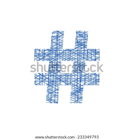 blue hashtag icon in sketch style. concept of number sign and social media. isolated on white background. modern vector illustration - stock vector