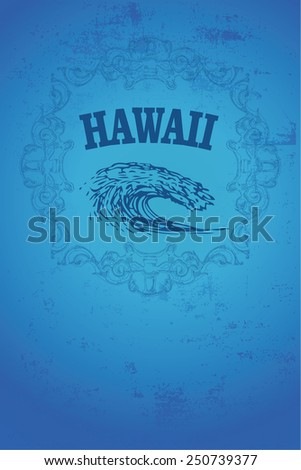 blue hawaii surf poster with vintage style - stock vector